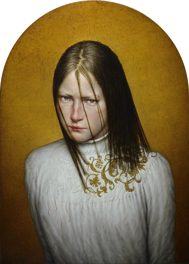 Dino Valls – aurum – Oil and gold leaf : wood, 70 x 50 cm. 2014