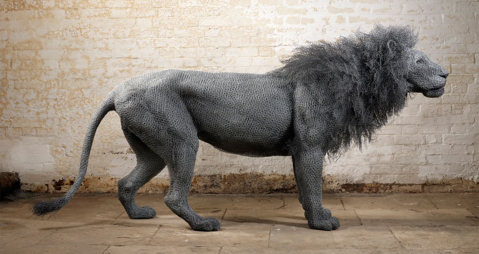 Lion – Kendra Haste – Galvanised wire Sculptures