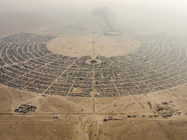 Aerial View Burning Man 2014 During Embrace Burn ©DUNCAN RAWLINSON