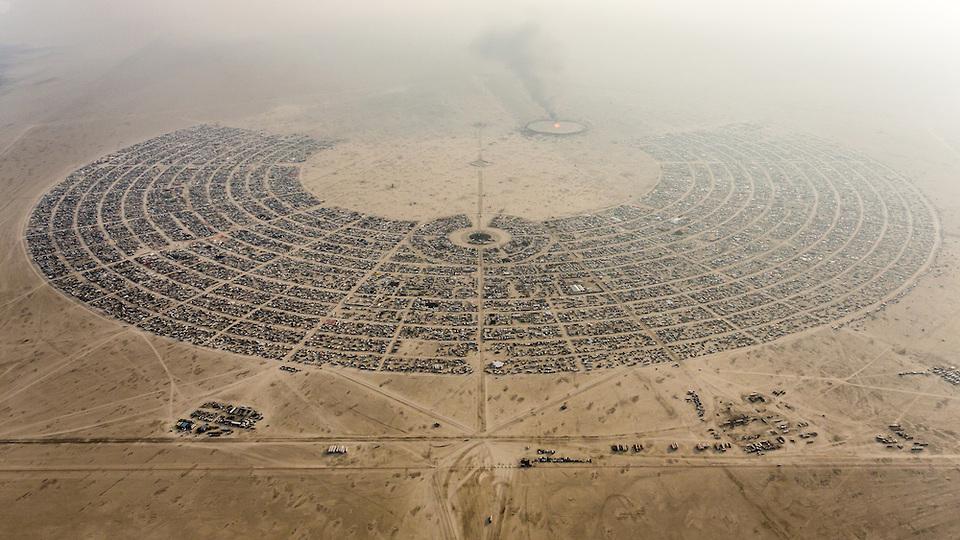 Aerial View Burning Man 2014 During Embrace Burn ©DUNCAN RAWLINSON