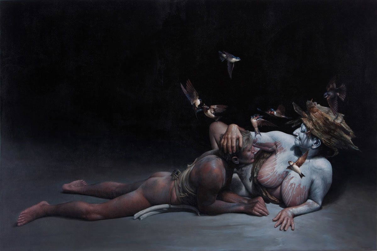 James Guppy – An Embrace of Swallows  – 2012  acrylic on linen  120 x 180 cm