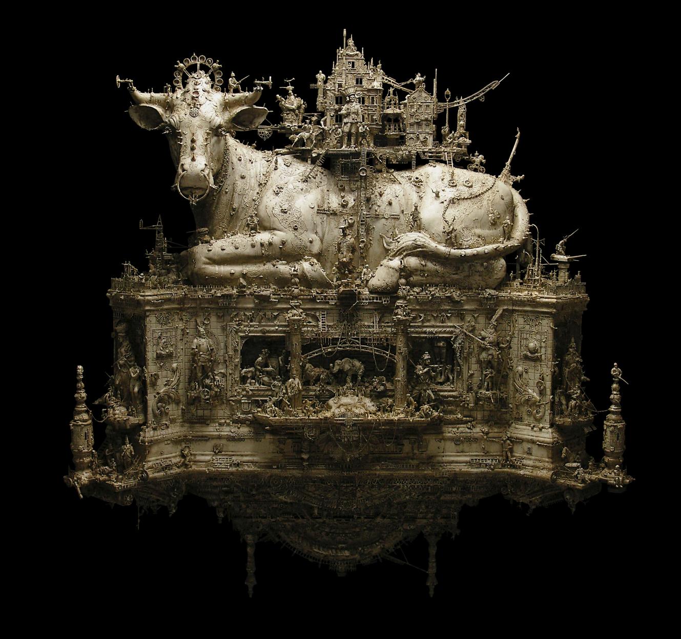 Kris Kuksi - Dharma Bovine - sculpture