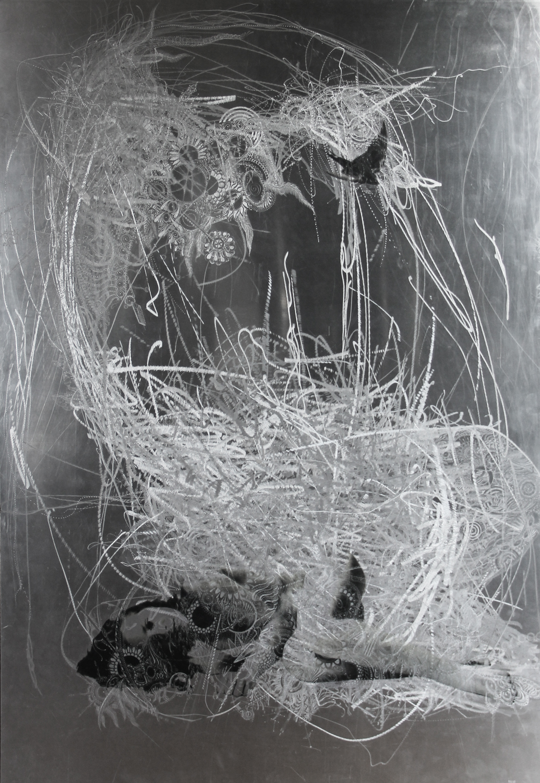 Marie-josee Roy – Junon, 60×42, photo transfert sur aluminium meulé, gravure au burin- Jerome Prieur