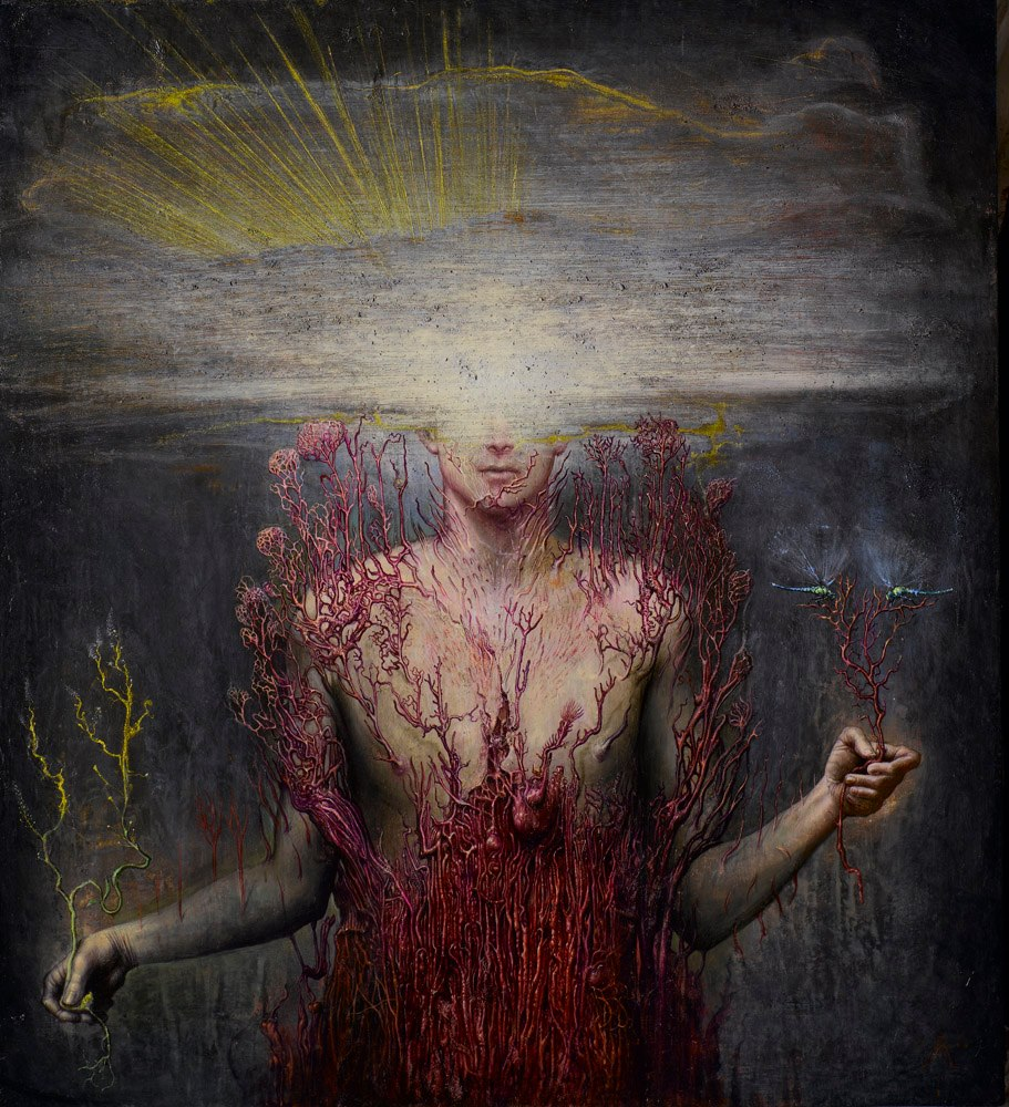 Agostino Arrivabene – Amor vincit omnia – oil, gold leaf, on wood