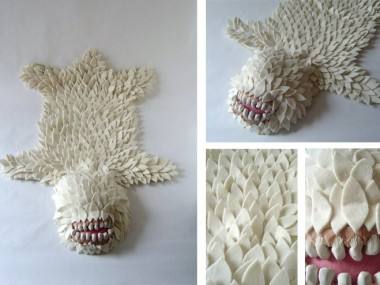 Joshua Ben Longo – Monster Skin Rug white – Textiles sculptures