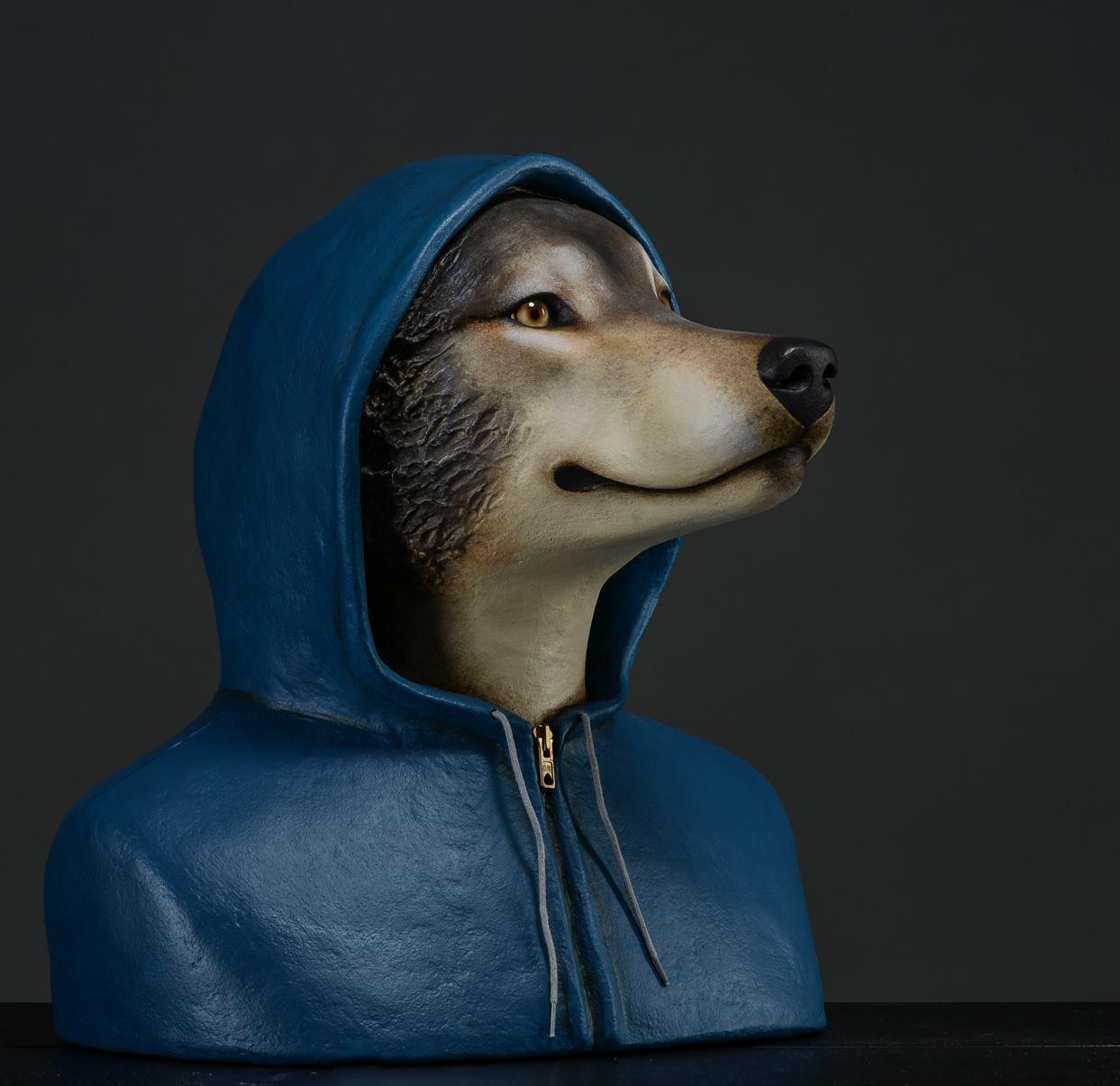 Mélanie Bourlon – Papier maché sculptures – Jeune Loup papier