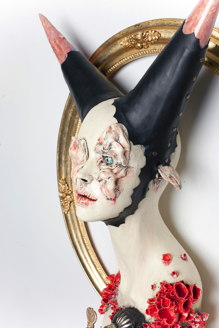 Sarah Louise Davey – into the black – Ceramic, found object and wood
