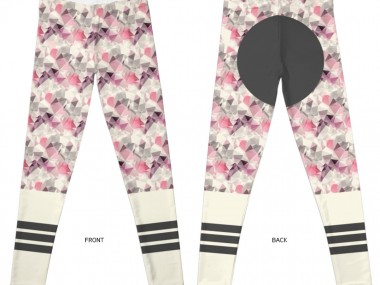 Legging geometric horse / geometric motif, stripes, pink, girl