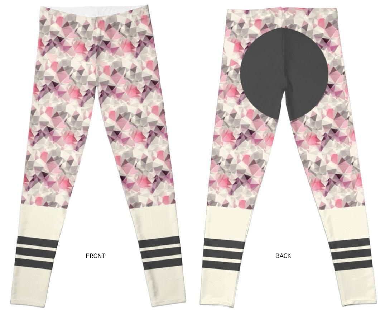 Legging geometric horse / geometric motif, stripes, pink, girl