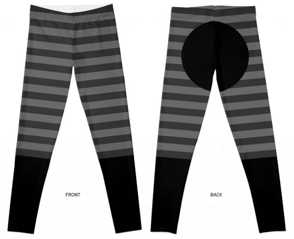 Legging horse, stripes, black/grey - ©LilaVert / Redbubble