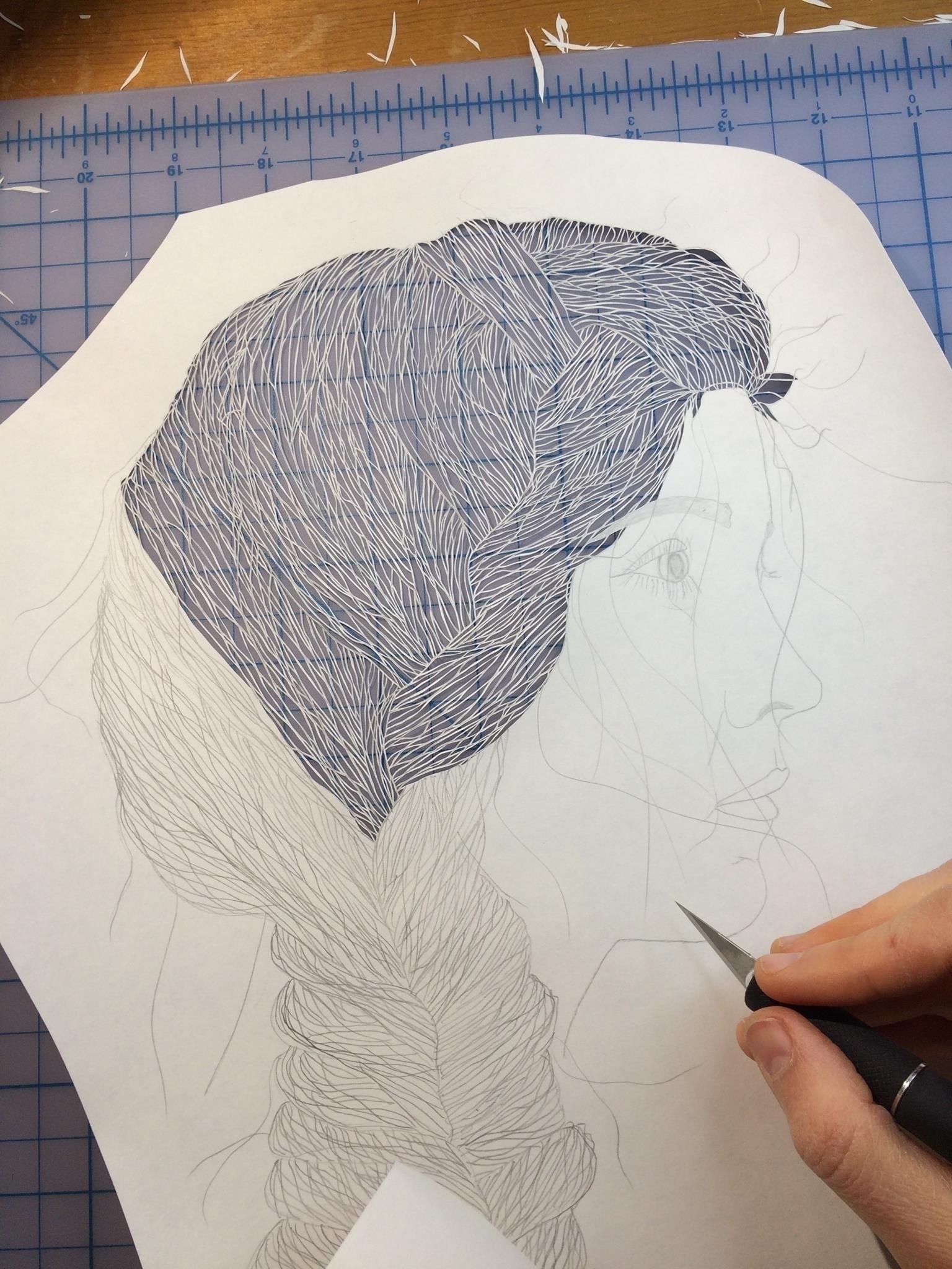 Maud White – paper cut art – wip
