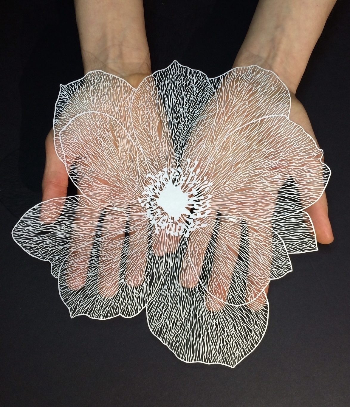 Paper carving artist – Maud White flower