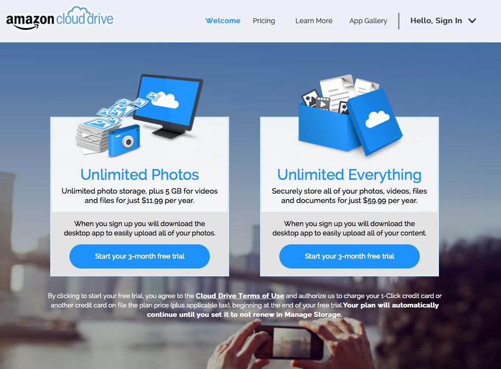 amazon-cloud - offre de stockage photos amazon