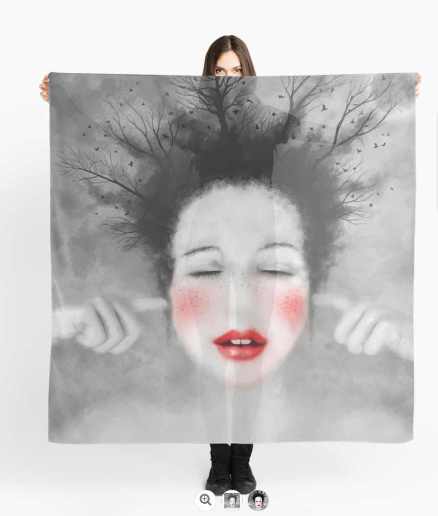 foulards personnalisés, impression Redbubble - print Scarves ©LilaVert