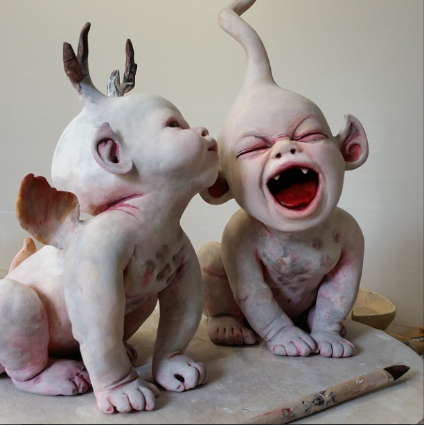 Ronit Baranga – sculptures The grave watchers childhood