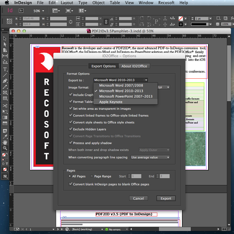 plugin indesign, conversion vers word powerpoint