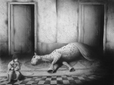 Victor Soren – dessins – Avec notre cheval mort