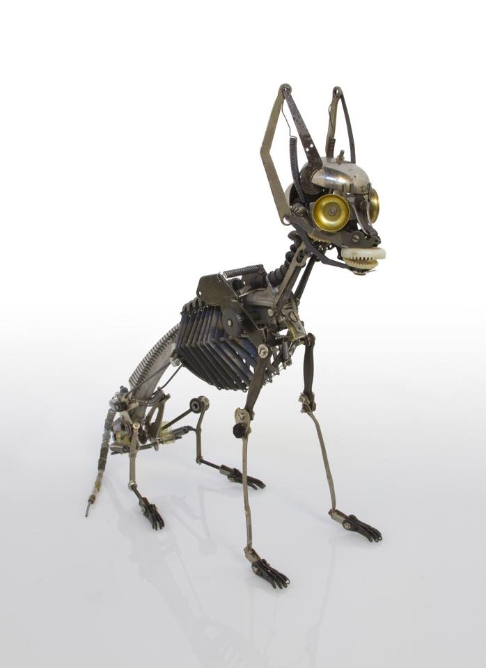Jeremy Mayer – Typewriter assemblage sculpture Cat