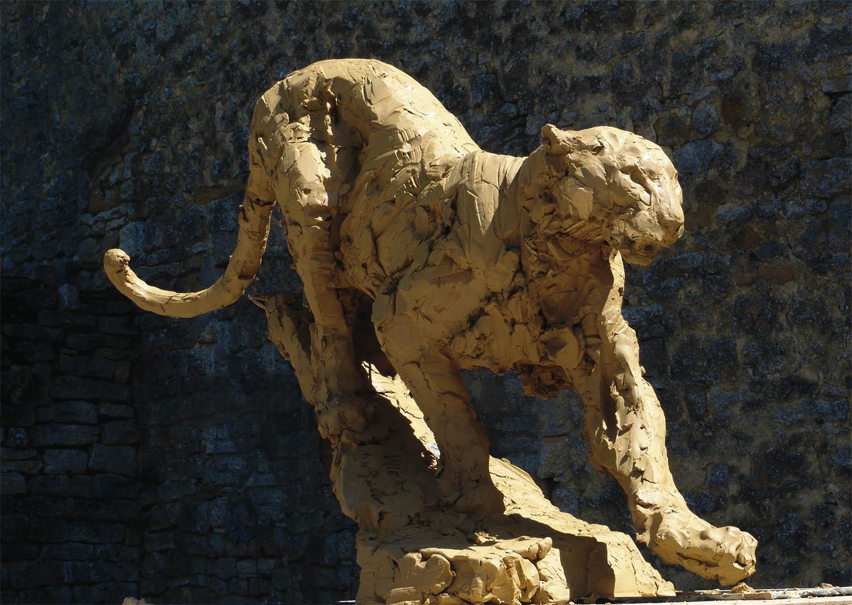 Patrick Villas – Panthère Royal Boch – Bronze – 87 x 159 cm