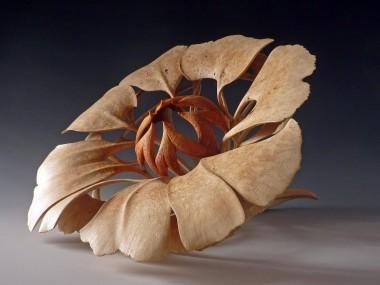 Alain Mailland – Sculpture Sola Rosa – Racine de filaire – Pigments