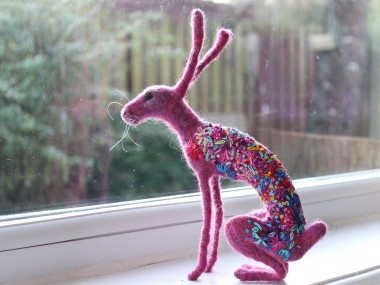 Dee McCracken – wool pink bunny sculpture