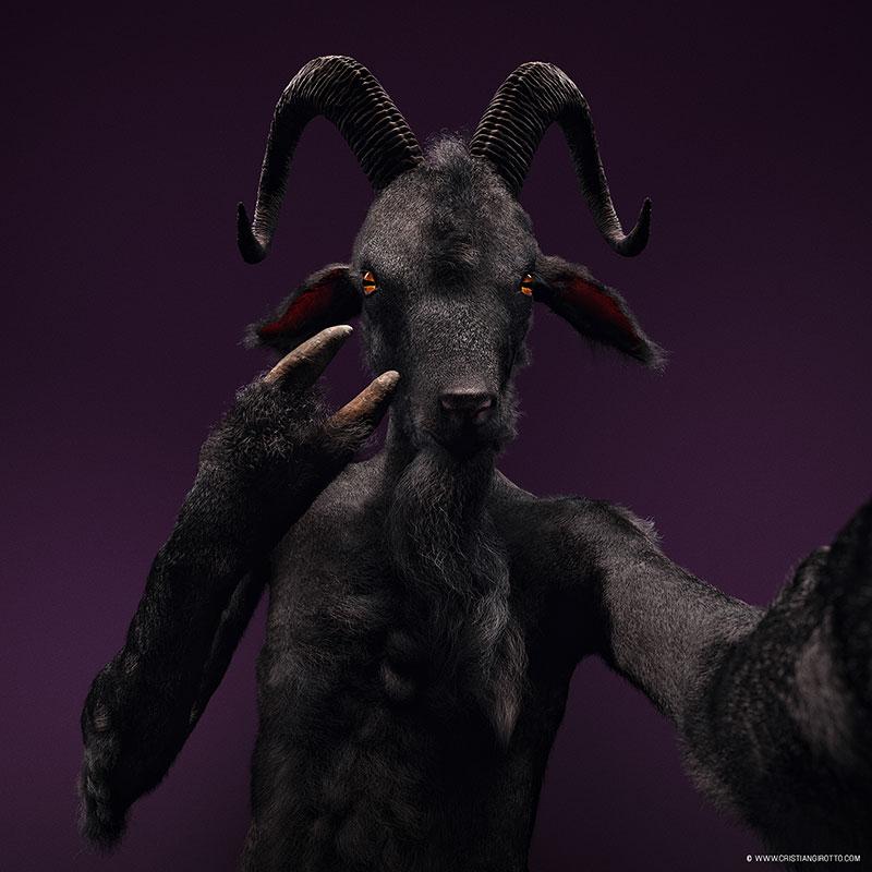Digital 3D series Cristian Girotto – Selfie animal bouc