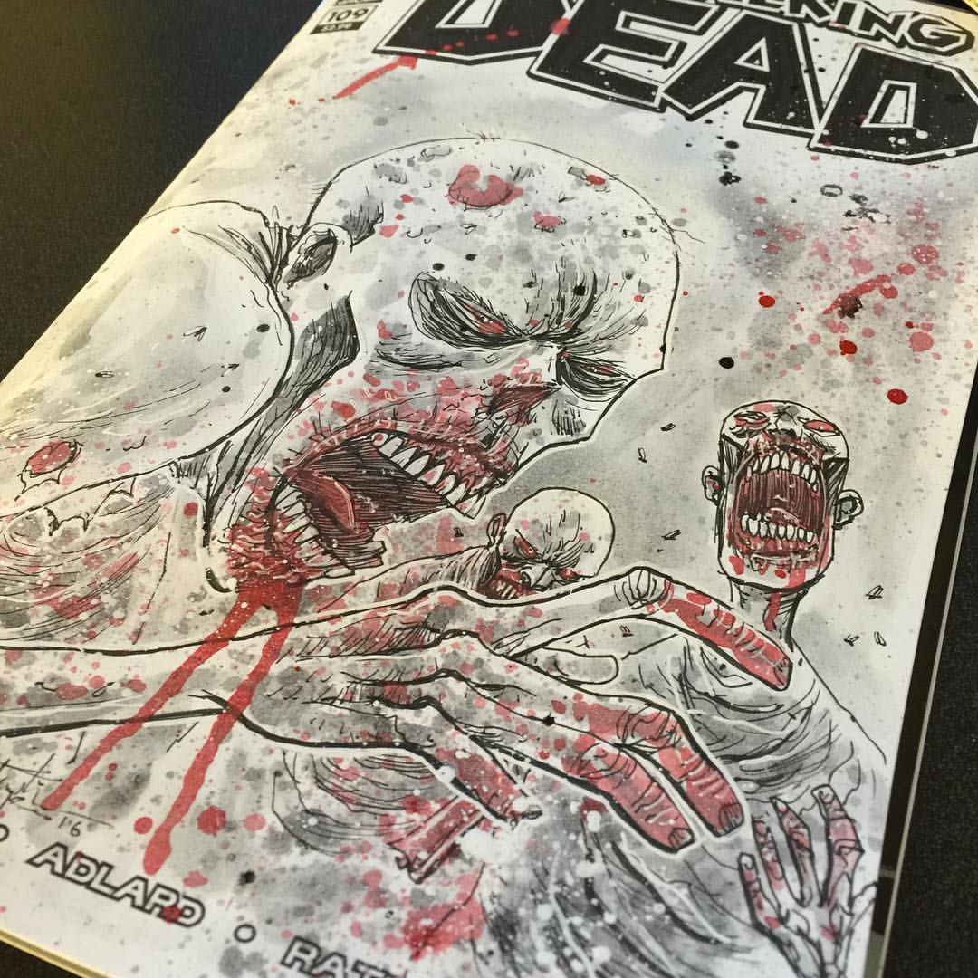 Ben Templesmith – Walking dead original art painted sketch cover