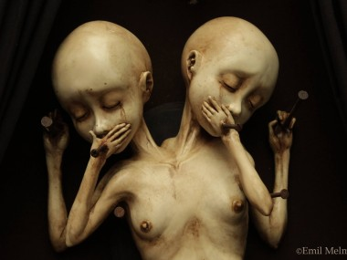 """Emil Melmoth, Sculptures – A closer look of """"Arcane"""", the twin sisters that are the main attraction of a wicked and morbid sight, the urging desire of the pedophile mind disguise as one of a gentleman"""