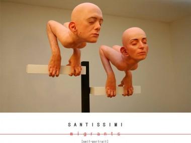 Silicone sculpture migrants – Self portrait – 2015 by Santissimi