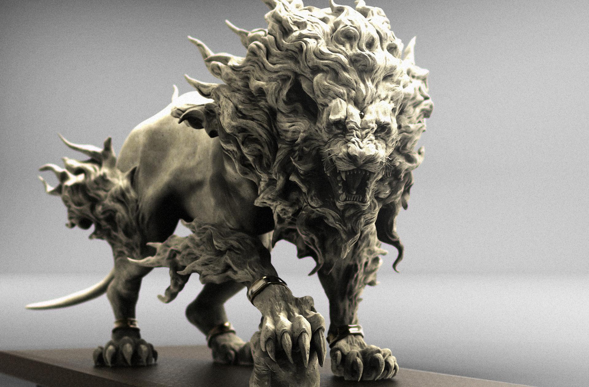 keita okada, Digital sculptor - lion