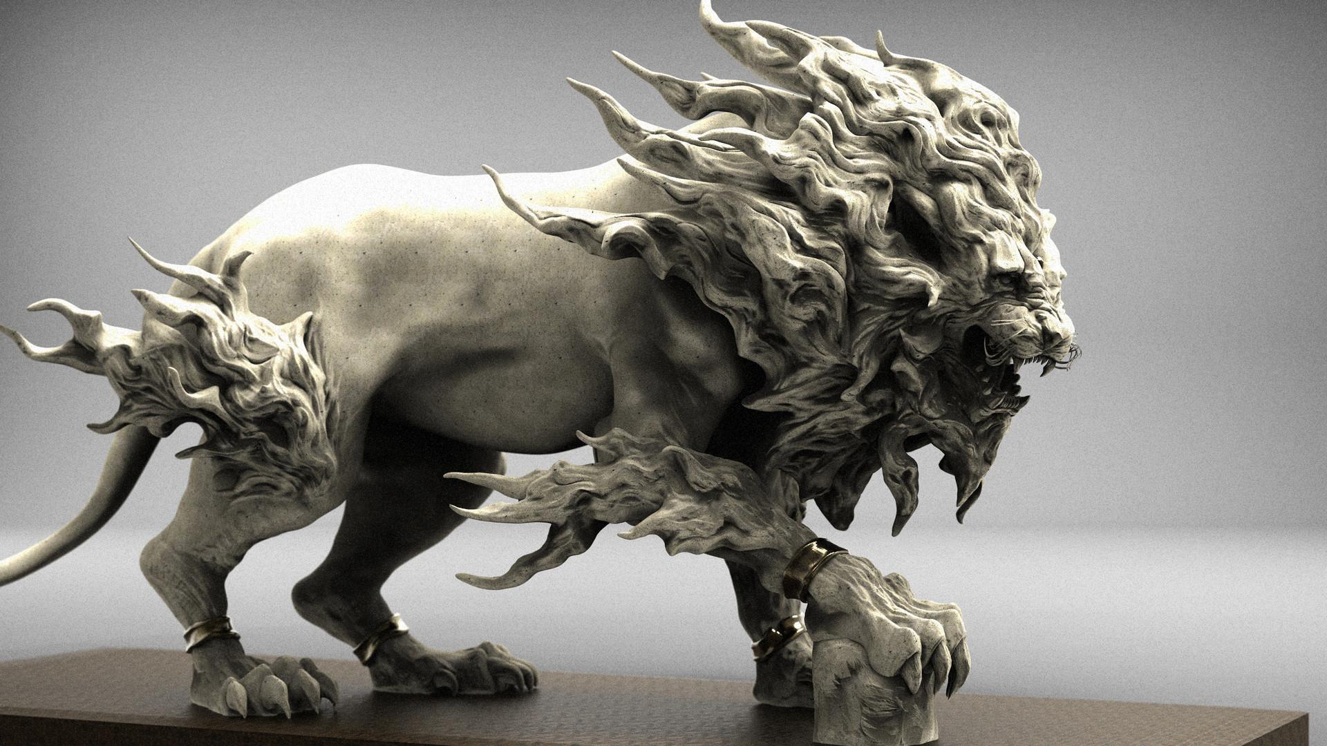 keita okada, Digital sculptor – lion