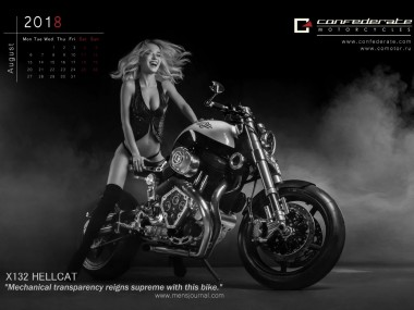 Confederate-Motorcycles-Kalendar_2018- August Calendrier