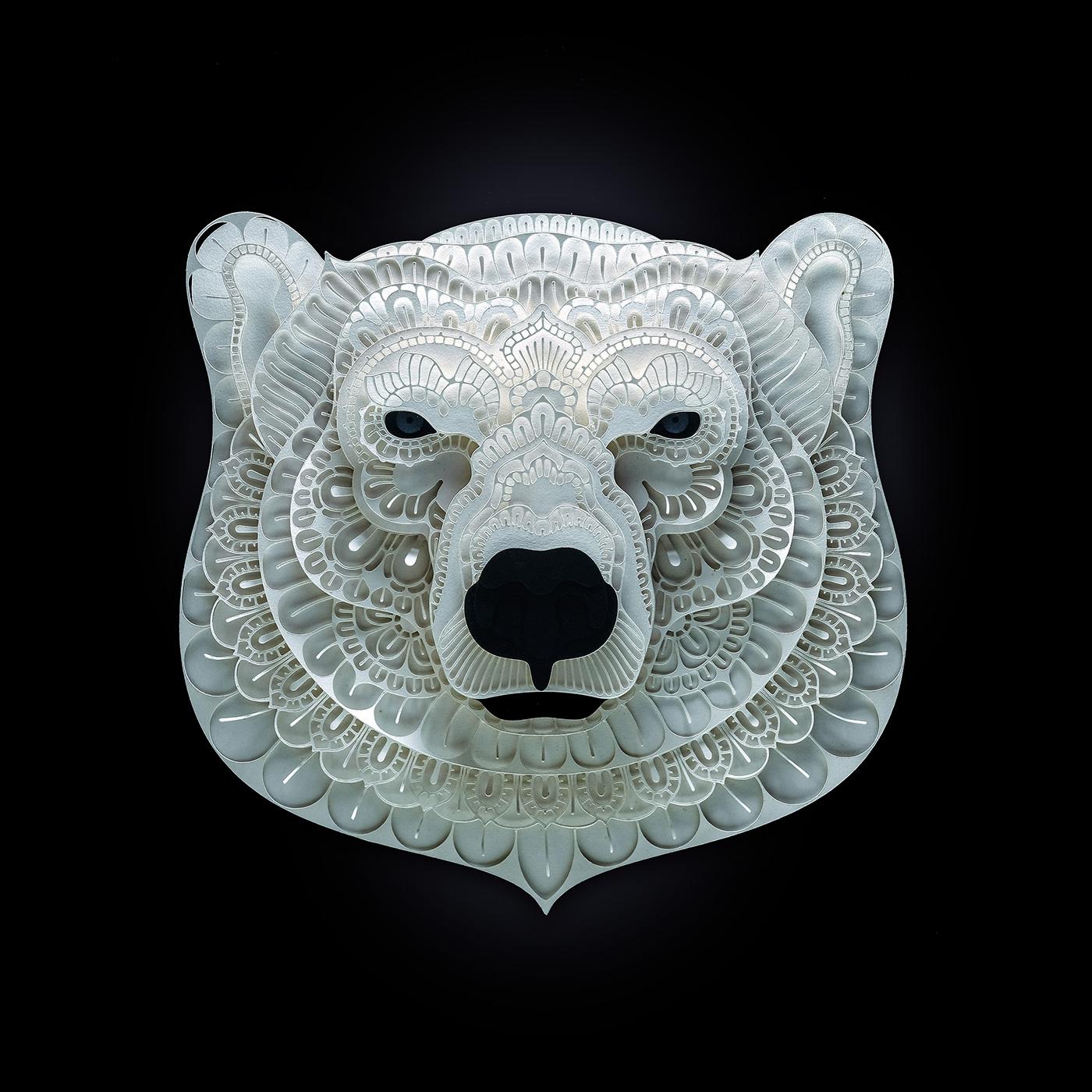 Patrick Cabral – papercuts Art – Bear