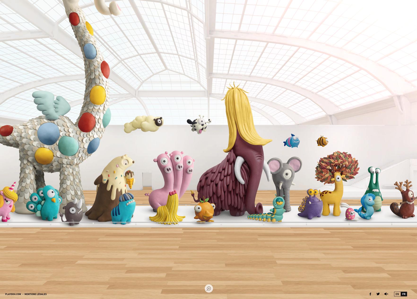 """Site la """"Galerie des espèces"""" avec des animaux imaginaires créés en pâte à modeler."""