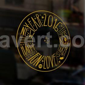 "Sticker showcase vitrine de magasin ""happy new year 2016"" vector stock. sticker transparent vectoriel, fichier versions blanche et or."