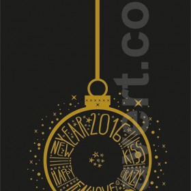 """Window signage """"happy new year 2016"""" sticker - vector, fully customisable"""