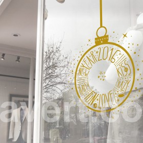 """Window signage """"happy new year 2016"""" sticker - vector, fully customisable. Vitrine magasin."""