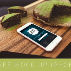 Free Mockup Apple iPhone & Green Cake