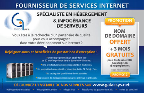 Annonce presse Galacsys hebergement