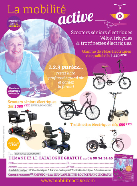 Graphiste freelance, création Catalogue print, seniors vélos, scooters, trottinettes, tricycles