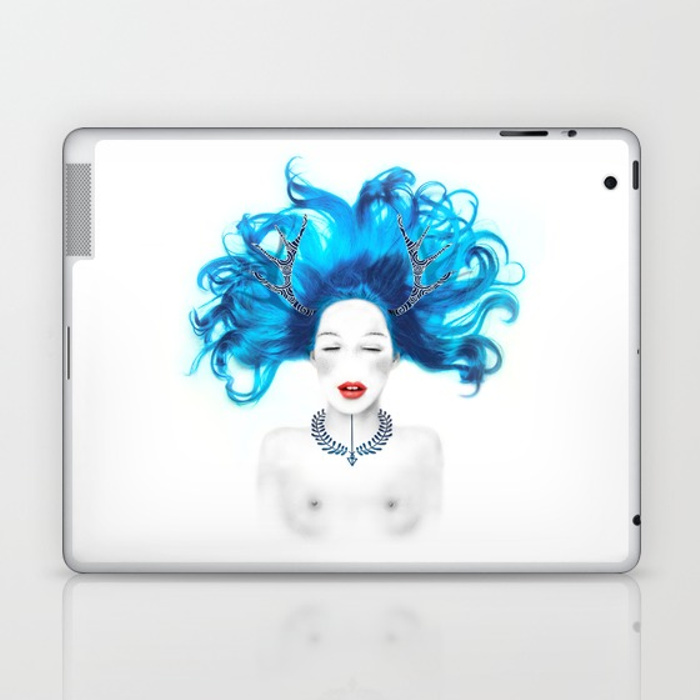 Dreamy girl. Creation digitale, illustration cheval - Tee-shirt, Iphone case, Ipad, macbook, coussinin, sac