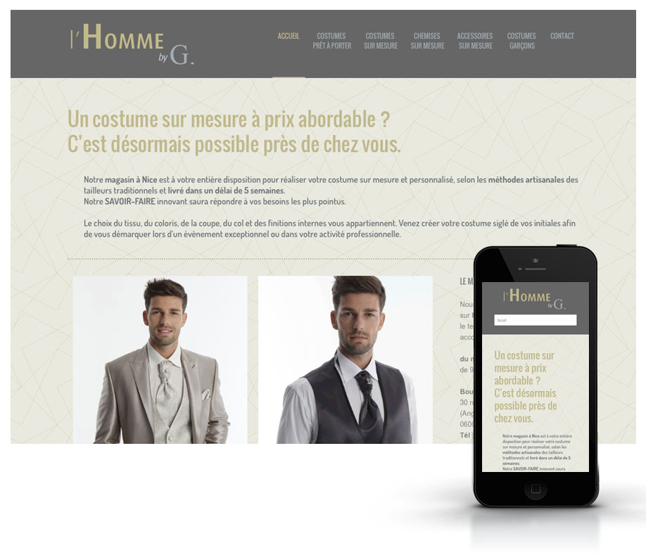 Creation Webdesign boutique costumes hommes site Responsive design