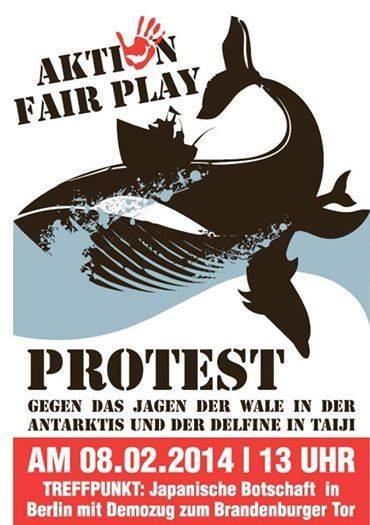 Samedi 8 février 2014, grande manifestation à Berlin contre le massacre des dauphins à Taiji, Japon
